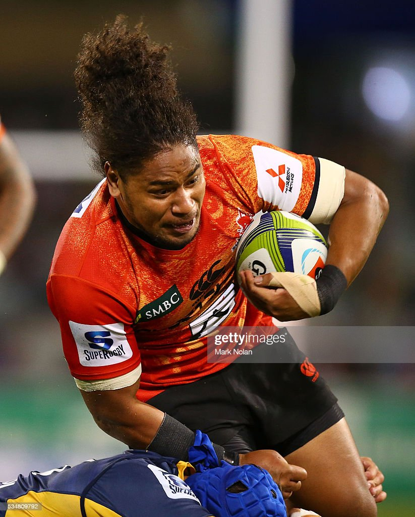 Mifi Paea of the Sunwolves runs the ball during the round 14 Super Rugby match between the Brumbies and the Sunwolves at GIO Stadium on May 28, 2016 in Canberra, Australia.