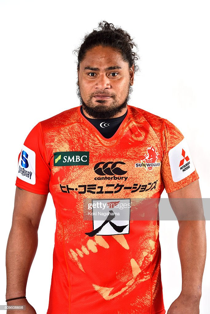 Mifiposeti Paea poses during the Sunwolves 2016 Super Rugby headshots session on February 11, 2016 in Tokyo, Japan.
