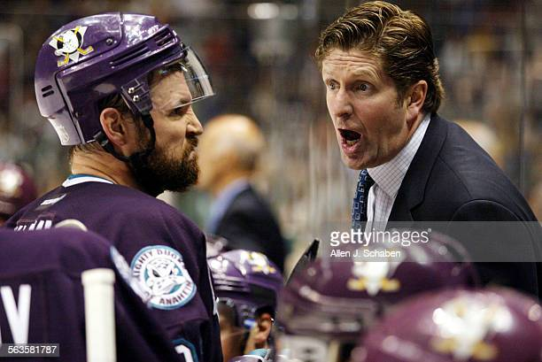 Mighty Ducks coach Mike Babcock has an exchange with Petr Sykora during the second period of game five of the Stanley Cup Finals Thursday June 5 2003...