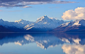 A panorama of the highest mountain in New Zealand, Mount Cook, reflected on Lake Pukaki.