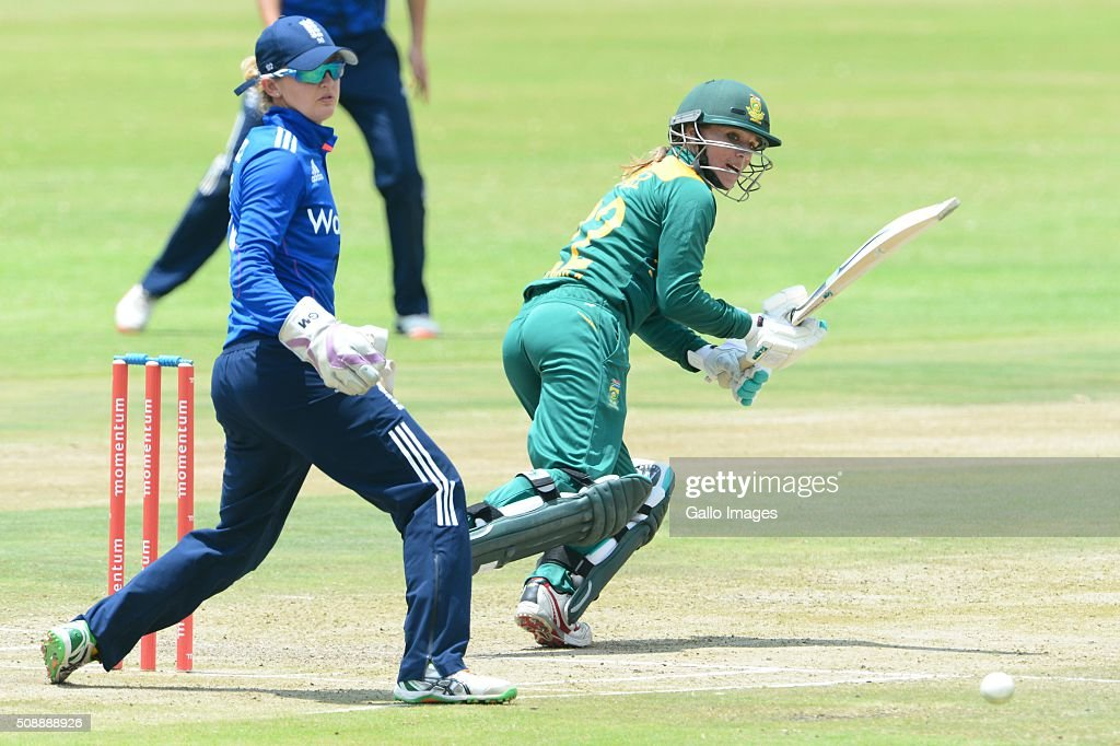 Mignon du Preez of South Africa during the One Day International match between South African Women and England Women at Willowmoore Park on February 07, 2016 in Benoni, South Africa.
