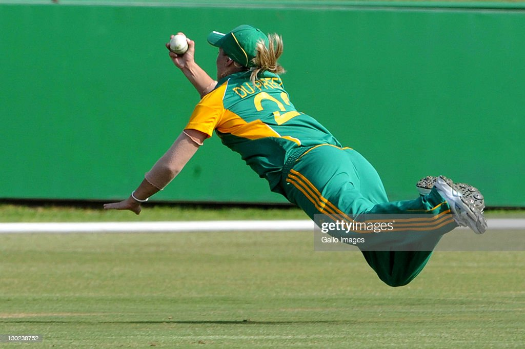 Mignon du Preez of South Africa takes a one handed catch for the wicket of Lydia Greenway of England during the 3rd One Day International match between South Africa Women and England Women at Senwes Park on October 25, 2011 in Potchefstroom, South Africa.