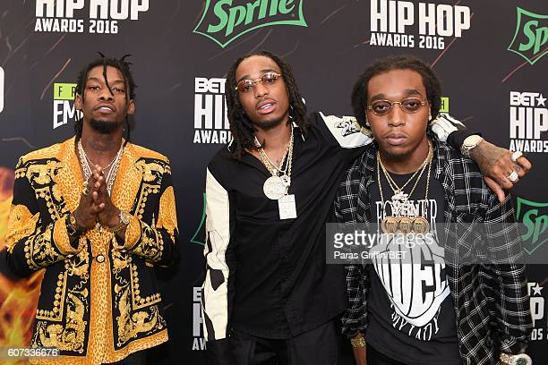 Migos attend the BET Hip Hop Awards 2016 Green Carpet at Cobb Energy Performing Arts Center on September 17 2016 in Atlanta Georgia