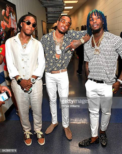Migos attends Birthday Bash ATL The Heavyweights of HIP HOP Live in Concert at Philips Arena on June 18 2016 in Atlanta Georgia