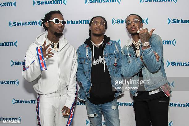 Migos Rappers Offset Takeoff and Quavo visit SiriusXM Studios on January 26 2017 in New York City