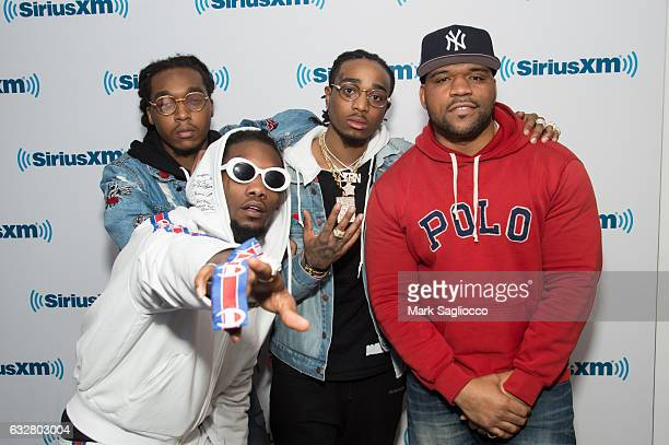 Migos Rappers Offset Takeoff Quavo and Hip Hop Nation Host Torae visit SiriusXM Studios on January 26 2017 in New York City