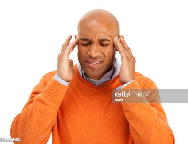 Schmerzen, Migräne afroamerikanische Erwachsener Mann Leiden