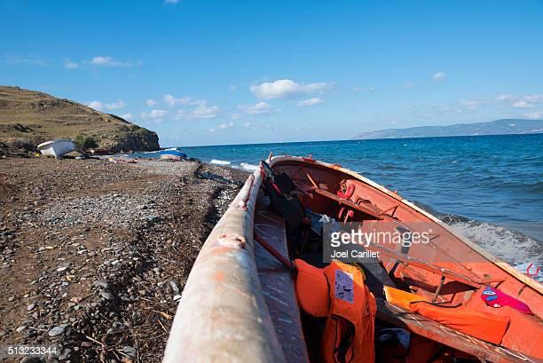 Migrant Boote verlassenen auf Lesbos, Griechenland