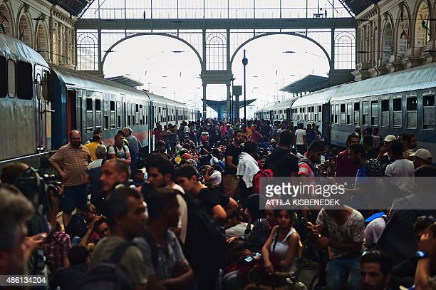 Migrants and refugees crowd the platforms at the Keleti railway station in Budapest on September 1 2015 Keleti the biggest Hungarian railway station...