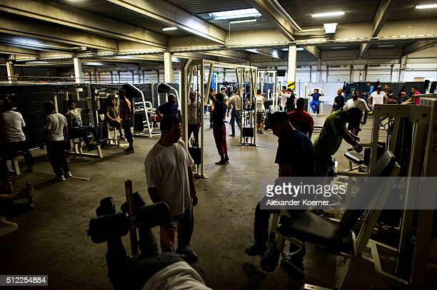 Migrants and refugees seeking asylum in Germany attend a sport class at the shelter where they live while their asylum applications are processed on...
