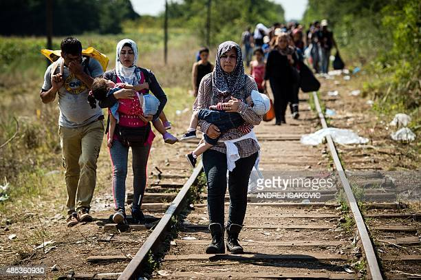 Migrants and refugees walk down railroad track towards the Hungarian border near the northern Serbian town of Horgos on August 27 2015 As Hungary...