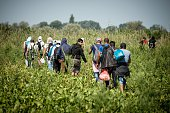 Migrants and refugees walk trough a field towards the Hungarian border near the northern Serbian town of Horgos on August 27 2015 As Hungary...