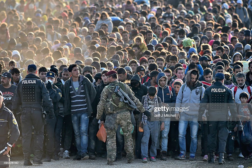 Migrants Cross Into Slovenia : News Photo