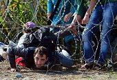 Migrants creep under the barbed fence near the village of Roszke on the HungarianSerbian border on August 28 2015 As Europe struggles with its worst...