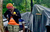 Migrants in an encampment of Africans in Penas Blancas Guanacaste Costa Rica in the border with Nicaragua on July 19 2016 In a makeshift camp at...