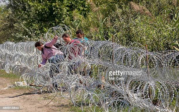 Migrants jump through the border fence between Serbia into Hungary close to the village of Roszke on August 30 2015 near Szeged Hungary According to...