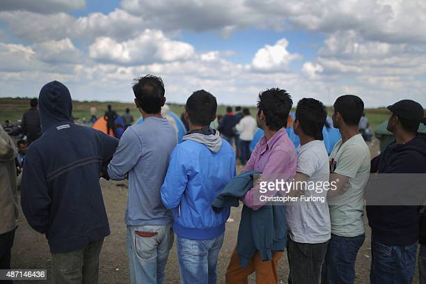 Migrants look on as other migrants try to make their way across country being chased by police after crossing the border from Serbia into Hungary...