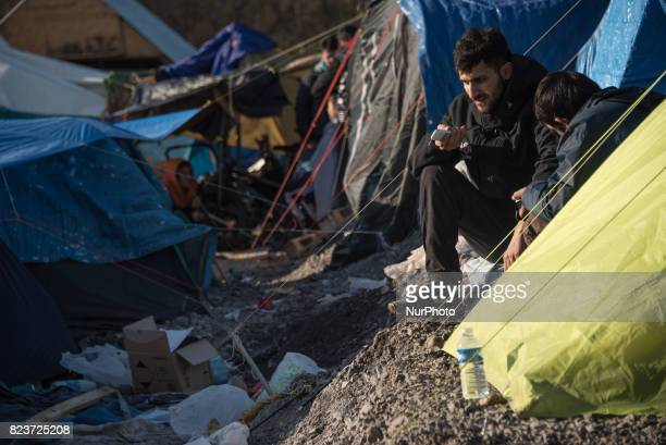 Migrants refugees and asylumseekers living in difficult conditions in GrandeSynthe camp near Dunkirk France Photos taken 1617 January 2016
