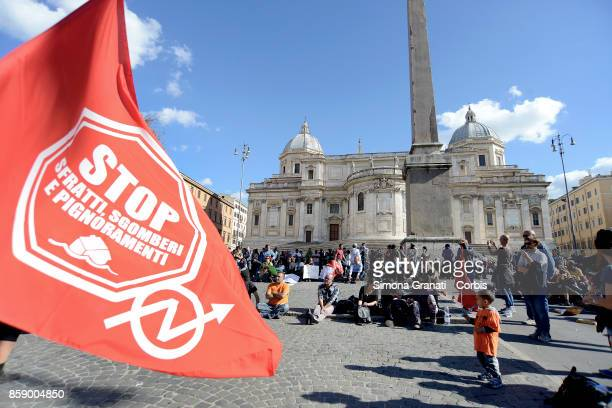 Migrants refugees and supporters rally for the right to housing during the National Assembly in Piazza dell' Esquilino on policy regarding migrants...