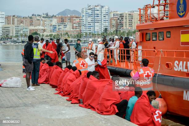 55 migrants rescued by the Spanish maritime just arrived at the Malaga harbour Spain