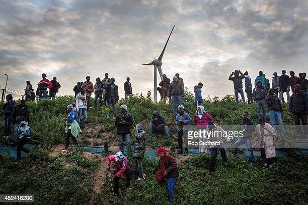 Migrants walk down a slope beside a road leading to the Eurotunnel terminal in Coquelles on July 30 2015 in Calais France Hundreds of migrants are...