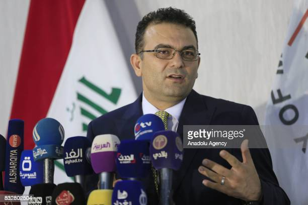 Migration and Immigrants Minister of Iraq Casim Muhammed elCaf holds a press conference at the Ministry Building in Baghdad Iraq on August 16 2017