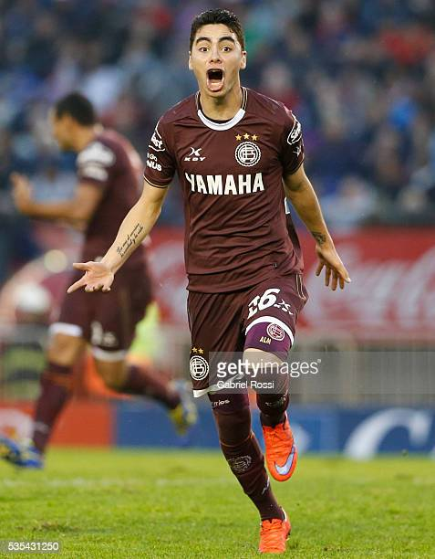 Miguel Almiron of Lanus celebrates after scoring the second goal of his team during a final match between San Lorenzo and Lanus as part of Torneo...