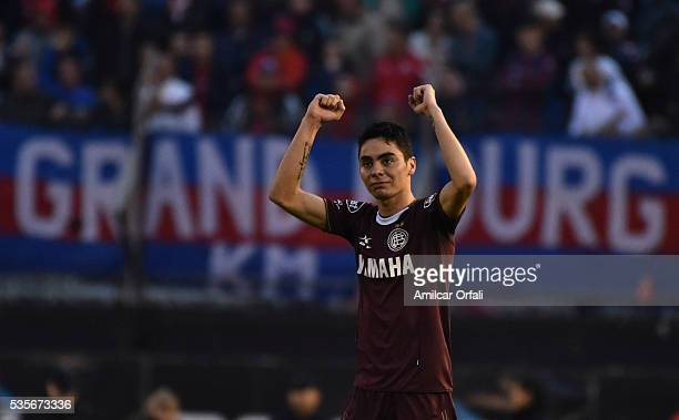 Miguel Almiron of Lanus celebrates after scoring the second goal of his team a final match between San Lorenzo and Lanus as part of Torneo Transicion...