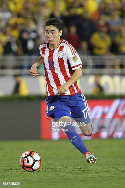 Miguel Almiron of Paraguay drives the ball during a group A match between Colombia and Paraguay at Rose Bowl Stadium as part of Copa America...
