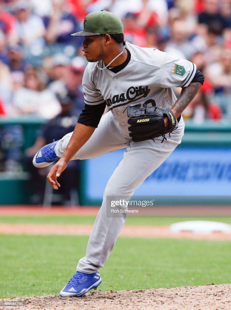 Miguel Almonte #50 of the Kansas City Royals pitches against the Cleveland Indians during the sixth inning at Progressive Field on May 28, 2017 in Cleveland, Ohio. The Indians defeated the Royals 10-1.