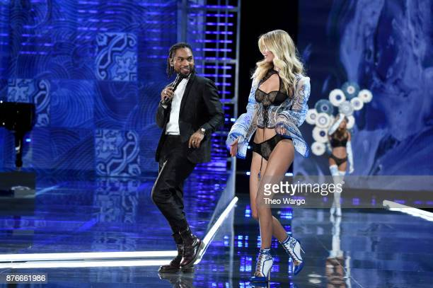 Miguel and Frida Aasen walk the runway during the 2017 Victoria's Secret Fashion Show In Shanghai at MercedesBenz Arena on November 20 2017 in...