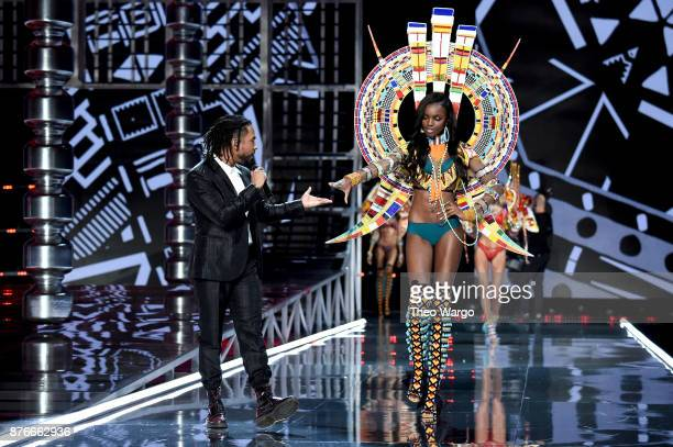 Miguel and Leomie Anderson walk the runway during the 2017 Victoria's Secret Fashion Show In Shanghai at MercedesBenz Arena on November 20 2017 in...