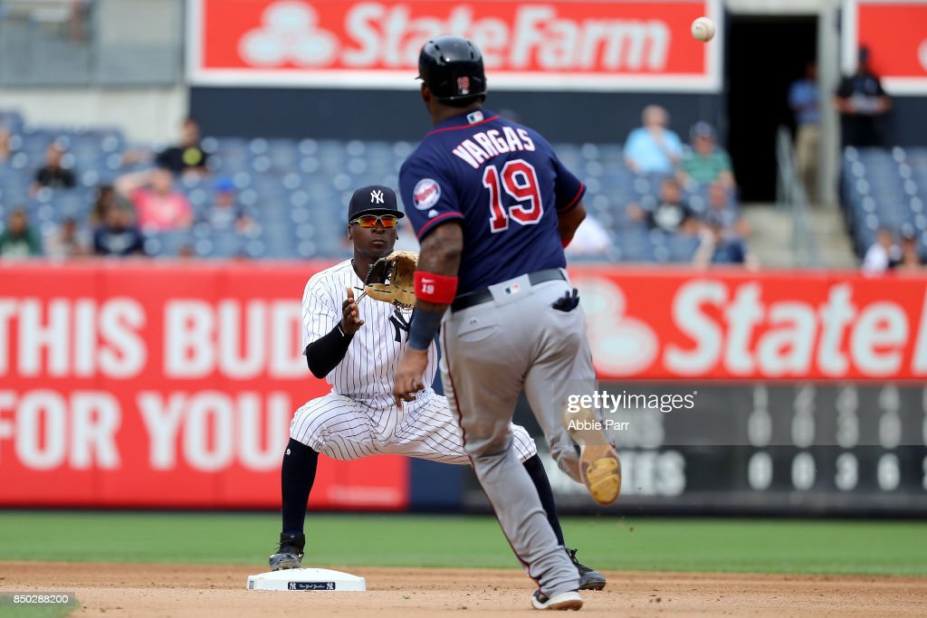 Miguel Andujar #67 of the New York Yankees tags out Kennys Vargas #19 of the Minnesota Twins in the seventh inning on September 20, 2017 at Yankee Stadium in the Bronx borough of New York City.