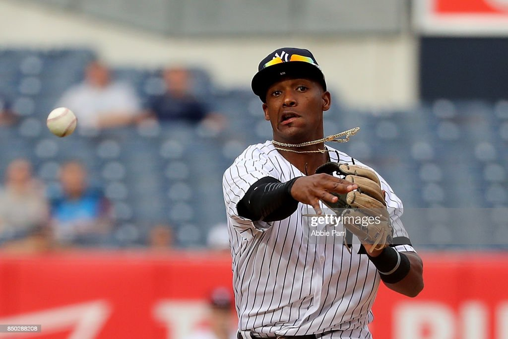 Miguel Andujar #67 of the New York Yankees throws the ball in ninth inning against the Minnesota Twins on September 20, 2017 at Yankee Stadium in the Bronx borough of New York City.