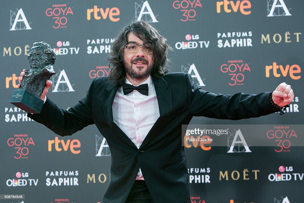 Miguel Angel Amoedo holds the award for best cinematography award during the 30th edition of the Goya Cinema Awards at Madrid Marriott Auditorium on February 6, 2016 in Madrid, Spain.
