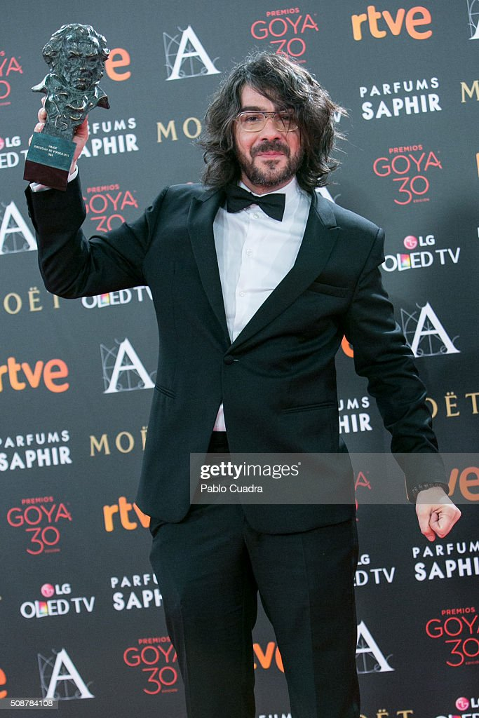 Miguel Angel Amoedo holds the award for best cinematography during the 30th edition of the Goya Cinema Awards at Madrid Marriott Auditorium on February 6, 2016 in Madrid, Spain.
