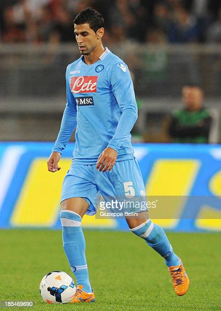 Miguel Angel Britos of Napoli in action during the Serie A match between AS Roma and SSC Napoli at Stadio Olimpico on October 18 2013 in Rome Italy