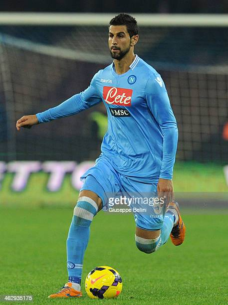 Miguel Angel Britos of Napoli in action during the Tim cup match between SSC Napoli and Atalanta BC at Stadio San Paolo on January 15 2014 in Naples...