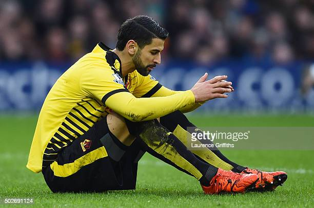 Miguel Angel Britos of Watford reacts during the Barclays Premier League match between Watford and Tottenham Hotspur at Vicarage Road on December 28...