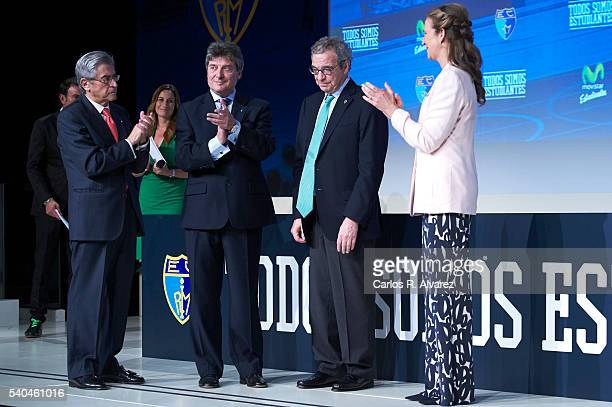 Miguel Angel Bufala Fernando Galindo President of Telefonica Foundation Cesar Alierta and Princess Elena of Spain attend 'Todos Somos Estudiantes'...