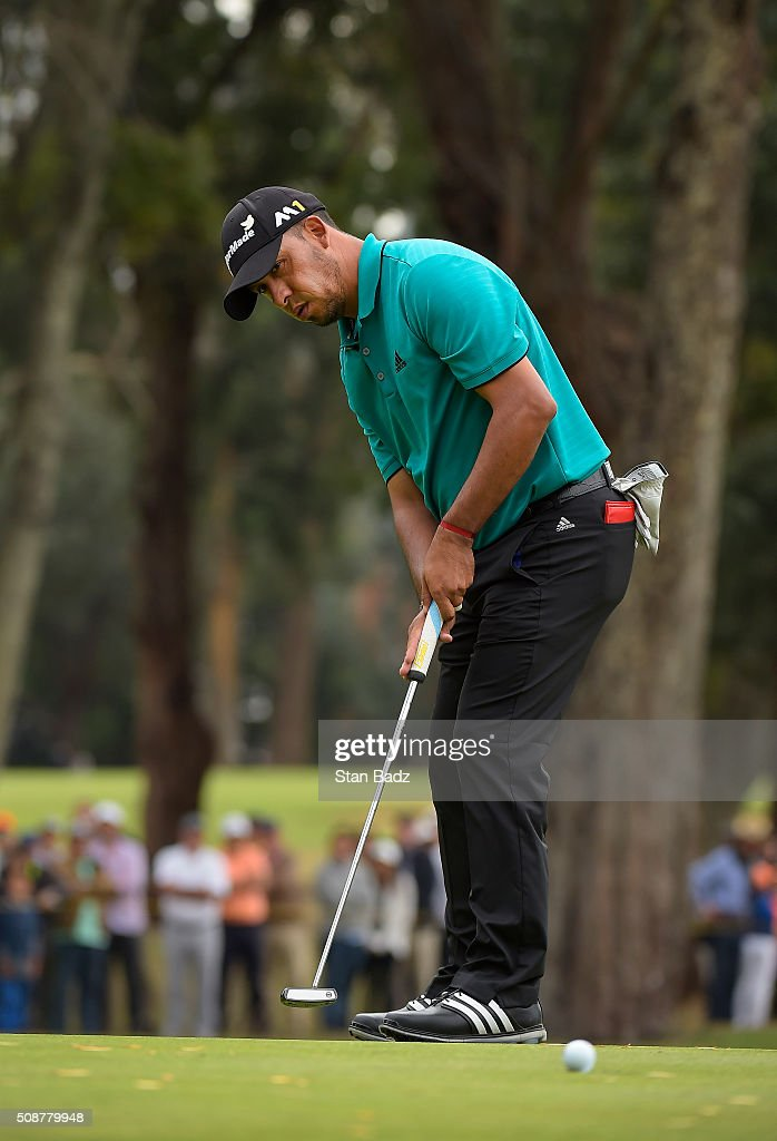 Miguel Angel Carballo of Argentina hits a putt on the fourth hole during the third round of the Web.com Tour Club Colombia Championship Presented by Claro at Bogotá Country Club on February 6, 2016 in Bogotá, Colombia.