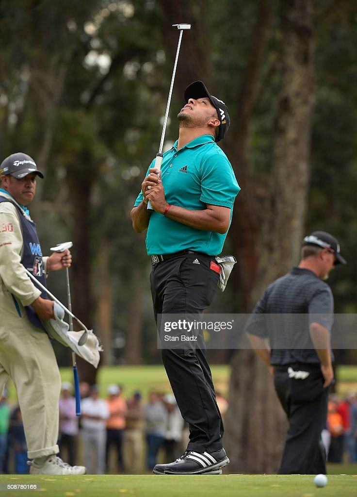 Miguel Angel Carballo of Argentina reacts to his birdie putt attempt on the fourth hole during the third round of the Web.com Tour Club Colombia Championship Presented by Claro at Bogotá Country Club on February 6, 2016 in Bogotá, Colombia.