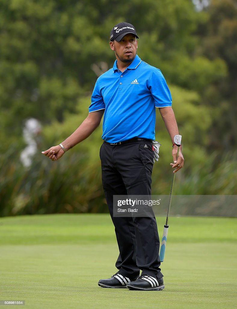 Miguel Angel Carballo of Argentina reacts to his putt on the fifth hole during the final round of the Web.com Tour Club Colombia Championship Presented by Claro at Bogotá Country Club on February 7, 2016 in Bogotá, Colombia.