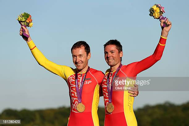 Miguel Angel Clemente Solano and Diego Javier Munoz of Spain receive their Gold medals after winning the Men's Individual B Time Trial on day 7 of...