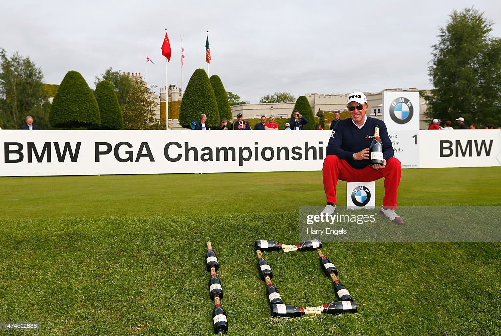 <a gi-track='captionPersonalityLinkClicked' href=/galleries/search?phrase=Miguel+Angel+Jimenez&family=editorial&specificpeople=171700 ng-click='$event.stopPropagation()'>Miguel Angel Jimenez</a> of Spain celebrates after his record tenth hole-in-one on the European Tour during day 3 of the BMW PGA Championship at Wentworth on May 23, 2015 in Virginia Water, England.