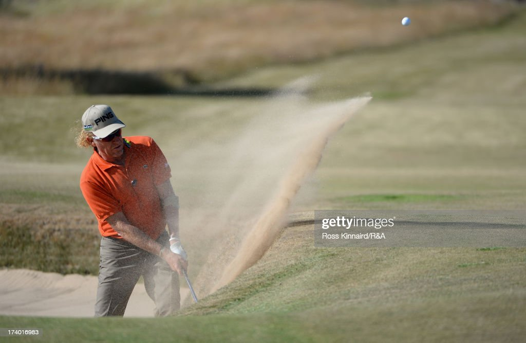 Miguel Angel Jimenez of Spain hits his 3rd shot on the 18th hole during the second round of the 142nd Open Championship at Muirfield on July 19, 2013 in Gullane, Scotland.