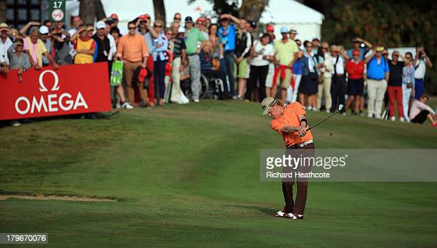 Miguel Angel Jimenez of Spain in action during the second round of the Omega European Masters at the CranssurSierre Golf Club on September 6 2013 in...