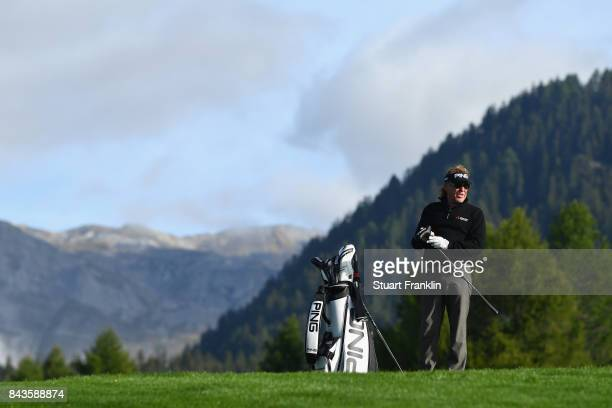 Miguel Angel Jimenez of Spain is pictured on the 12th hole during day one of the 2017 Omega European Masters at CranssurSierre Golf Club on September...