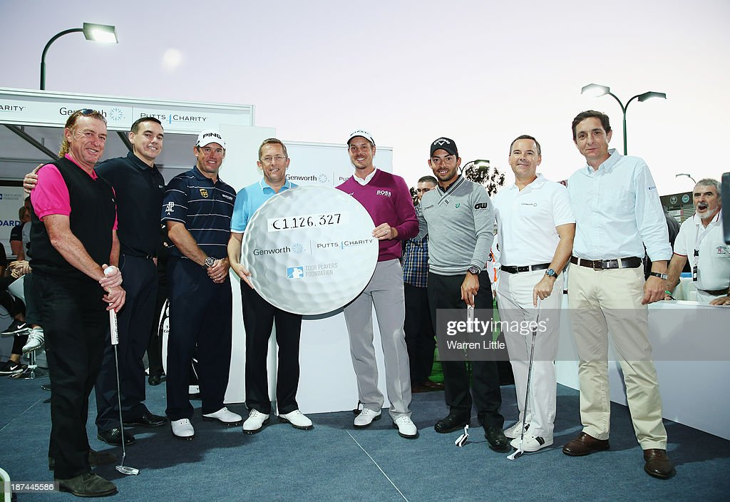 Miguel Angel Jimenez of Spain, Lee Westwood of England, Henrik Stenson of Sweden and Pablo Larrazabal of Spain takes part in the Genworth Putts4Charity Challenge Series Final after the second round of the Turkish Airlines Open at The Montgomerie Maxx Royal Course on November 8, 2013 in Antalya, Turkey.
