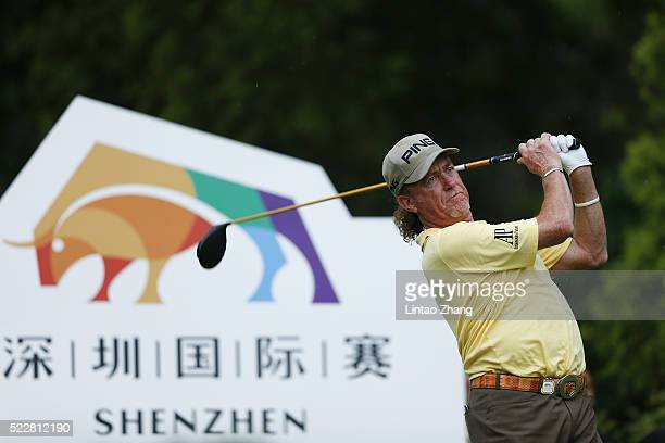 Miguel Angel Jimenez of Spain plays a shot during the first round of the Shenzhen International at Genzon Golf Club on April 21 2016 in Shenzhen...